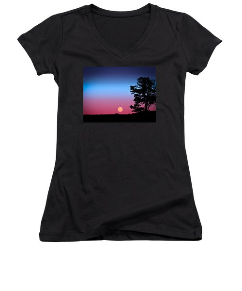 Women's V-Neck T-Shirt (Junior Cut) featuring the photograph Hunter's Moonrise In Eastern Arizona by John Haldane