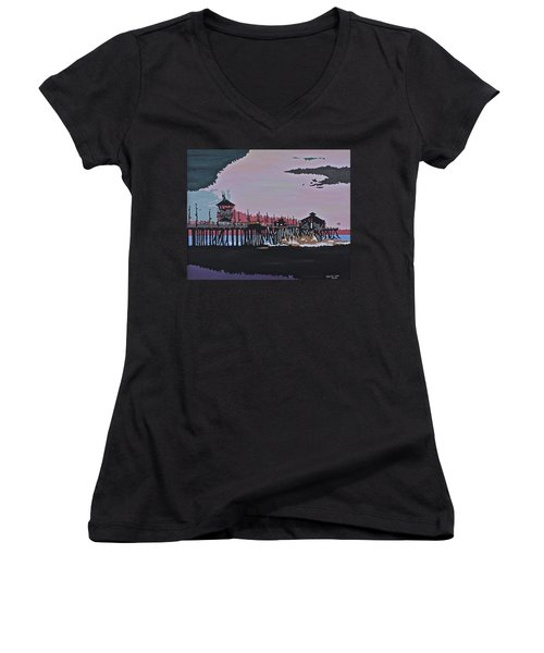 Huntington Beach Pier 1 Women's V-Neck T-Shirt
