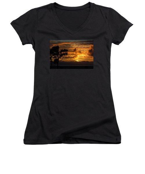 Women's V-Neck T-Shirt (Junior Cut) featuring the photograph Huntington Beach Sunset by Matt Harang