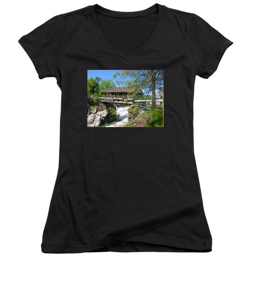 Women's V-Neck T-Shirt (Junior Cut) featuring the photograph Hurricane Irenes Destruction by Sherman Perry