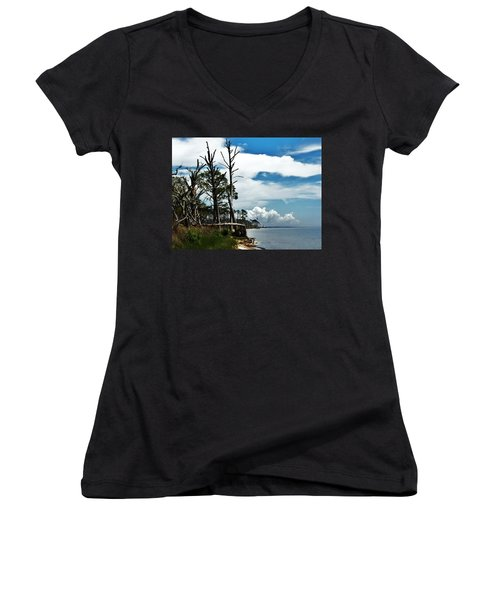 Women's V-Neck T-Shirt (Junior Cut) featuring the photograph Hurricane Trail by Faith Williams
