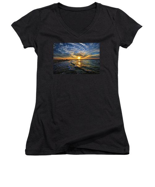 Hypnotic Sunset At Israel Women's V-Neck T-Shirt (Junior Cut) by Ron Shoshani