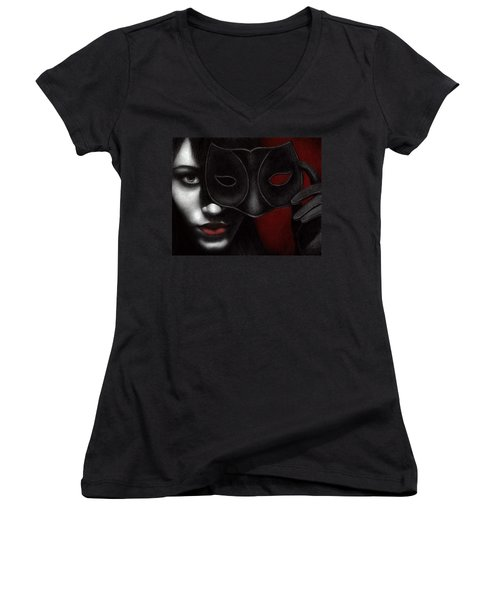 Women's V-Neck T-Shirt (Junior Cut) featuring the painting I Am Only What I Allow You To See by Pat Erickson