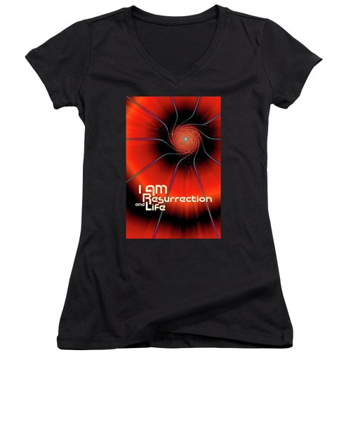 I Am Resurrection And Life Women's V-Neck (Athletic Fit)