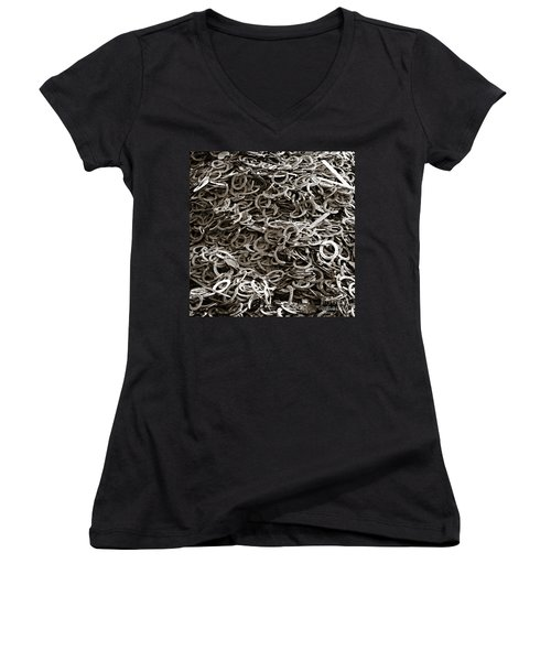 Women's V-Neck T-Shirt (Junior Cut) featuring the photograph I Can't Find My Other Shoe by Carol Lynn Coronios