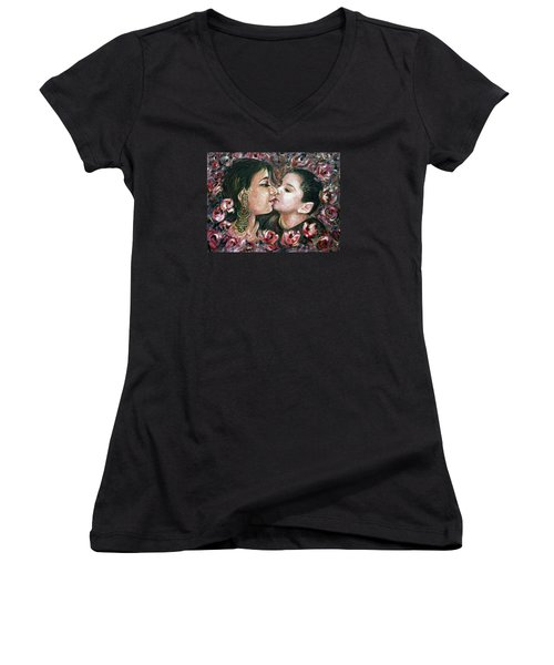 Women's V-Neck T-Shirt (Junior Cut) featuring the painting I Love You Mom by Harsh Malik