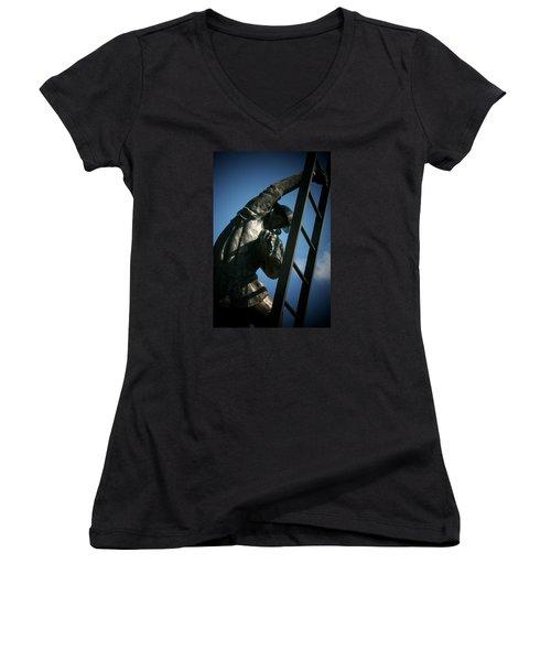 Iaff Fallen Firefighters Memorial  2 Women's V-Neck T-Shirt (Junior Cut) by Susan  McMenamin