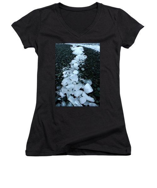 Women's V-Neck T-Shirt (Junior Cut) featuring the photograph Ice Pebbles by Amanda Stadther