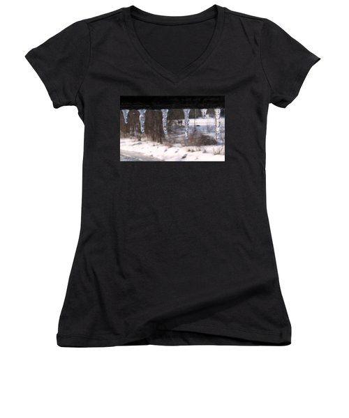 Women's V-Neck T-Shirt (Junior Cut) featuring the photograph Icicles On The Bridge by Nina Silver