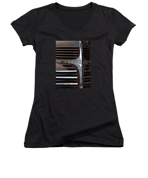 Iconic Dodge Truck Women's V-Neck T-Shirt (Junior Cut) by Nadalyn Larsen