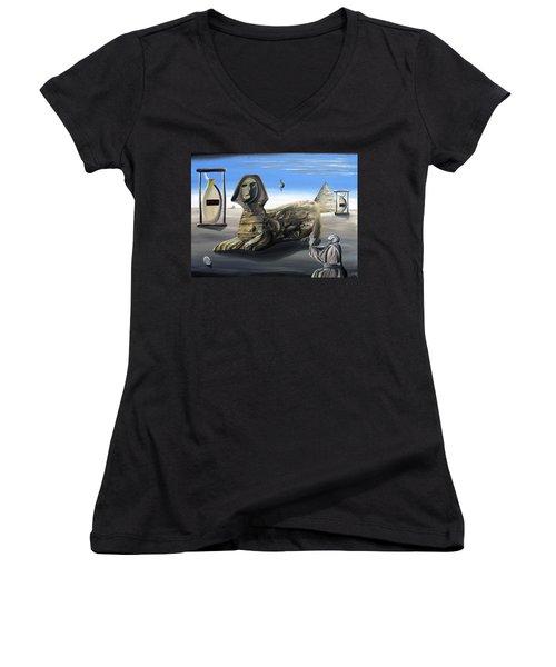 Idolatary Conformity Women's V-Neck T-Shirt (Junior Cut) by Ryan Demaree