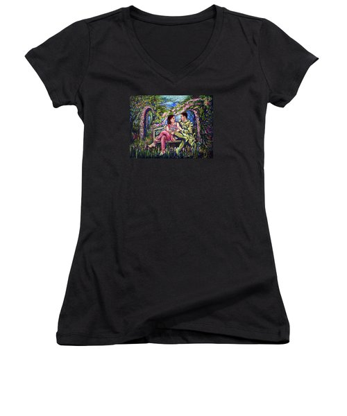 Women's V-Neck T-Shirt (Junior Cut) featuring the painting If I Will Get Your Love by Harsh Malik