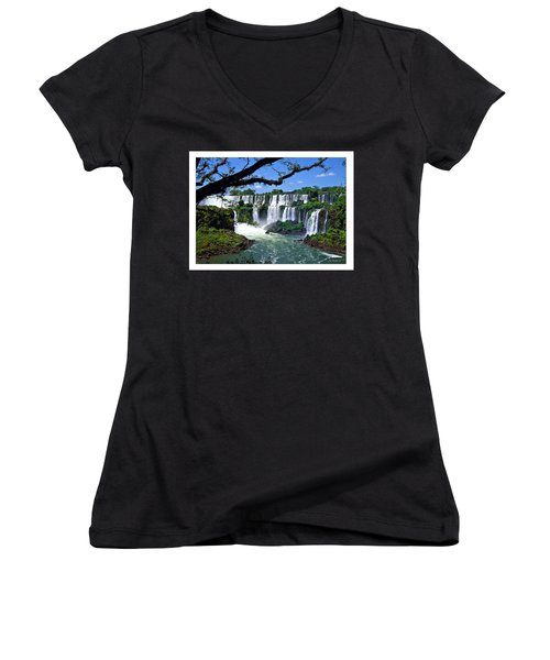 Iguazu Falls In Argentina Women's V-Neck T-Shirt (Junior Cut) by Joan  Minchak