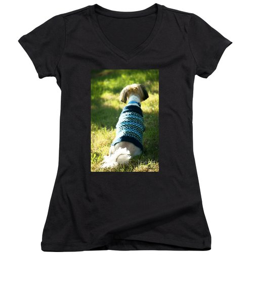 Women's V-Neck T-Shirt (Junior Cut) featuring the photograph I'll Be Waiting For You by Ellen Cotton
