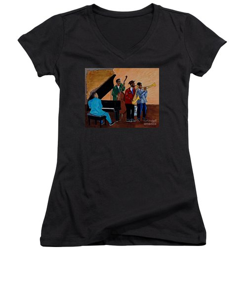 Im Moving On Women's V-Neck T-Shirt (Junior Cut) by Barbara McMahon