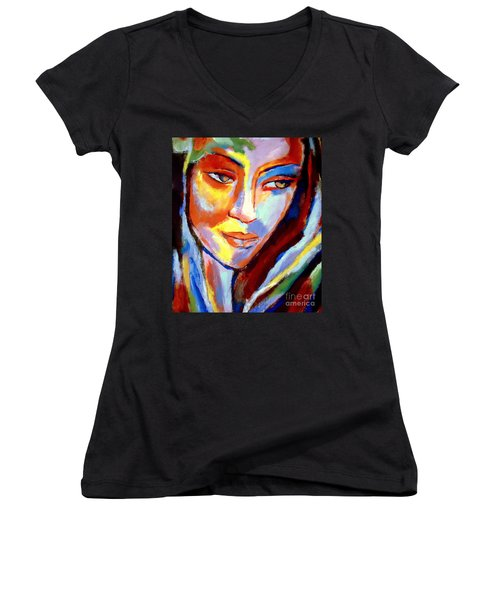 Women's V-Neck T-Shirt (Junior Cut) featuring the painting Immersed by Helena Wierzbicki