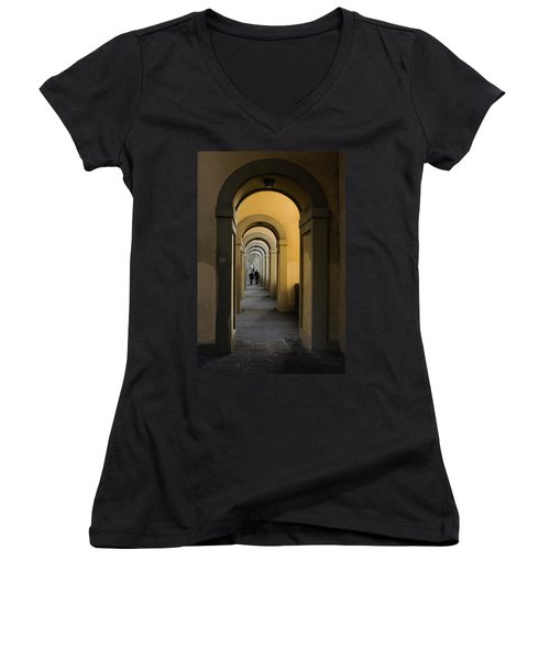 In A Distance - Vasari Corridor In Florence Italy  Women's V-Neck