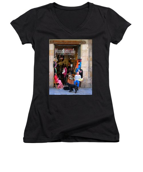In Good Company Women's V-Neck T-Shirt (Junior Cut) by Leena Pekkalainen