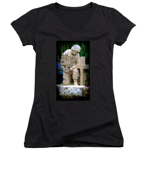In Honor Of The Wounded Warrior Women's V-Neck T-Shirt (Junior Cut) by Kay Novy