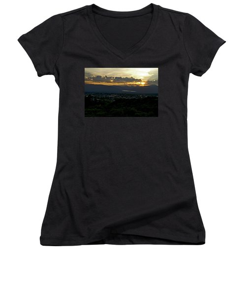 Women's V-Neck T-Shirt (Junior Cut) featuring the photograph In My Place by Jeremy Rhoades