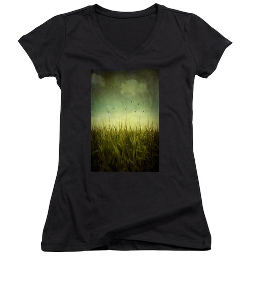 In The Field Women's V-Neck T-Shirt (Junior Cut) by Trish Mistric