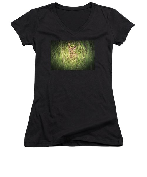 In The Tall Grass Women's V-Neck T-Shirt (Junior Cut) by Shane Holsclaw