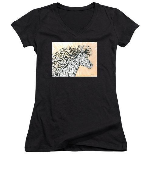 In The Wind Women's V-Neck T-Shirt (Junior Cut) by Susie WEBER