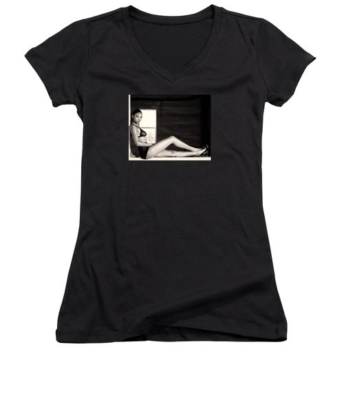 In The Window Women's V-Neck T-Shirt (Junior Cut) by Gregory Worsham