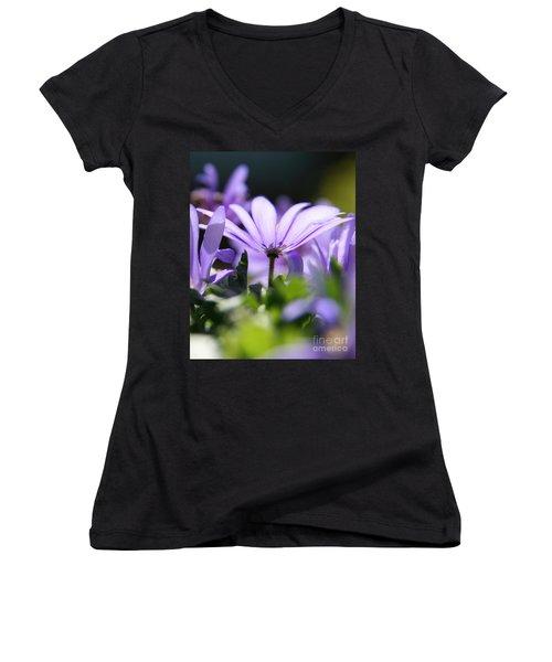 Floral Purple Light  Women's V-Neck T-Shirt