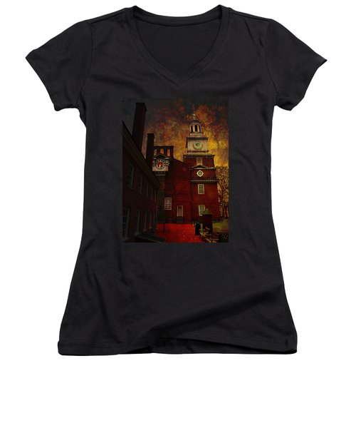 Independence Hall Philadelphia Let Freedom Ring Women's V-Neck T-Shirt (Junior Cut) by Jeff Burgess