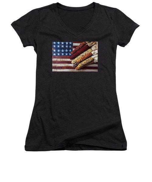 Indian Corn On American Flag Women's V-Neck