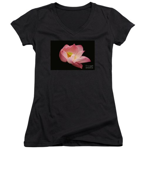 Indian Lotus On Black --- Sacred Light Women's V-Neck (Athletic Fit)