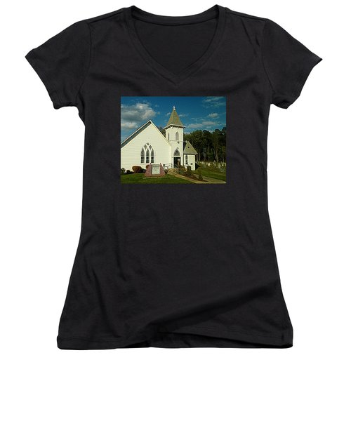 Indian Mission United Methodist Church Harbeson Delaware Women's V-Neck T-Shirt (Junior Cut) by Pamela Hyde Wilson