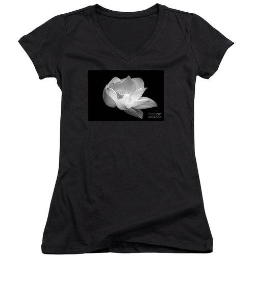 Women's V-Neck featuring the photograph Indian Sacred Lotus In Black And White by Byron Varvarigos