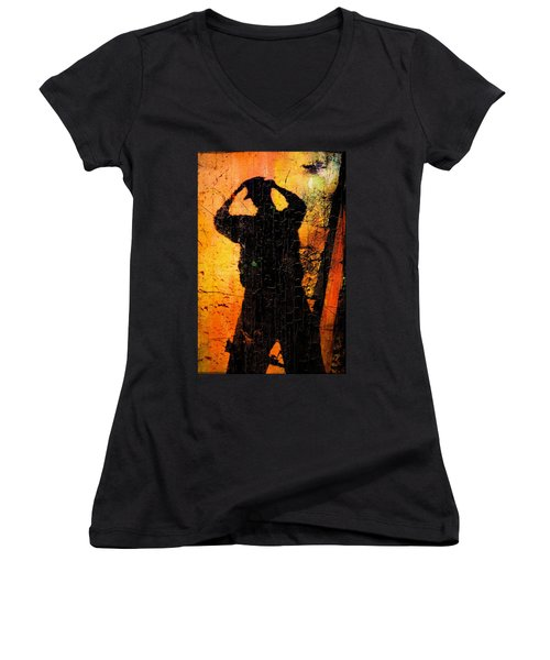 Women's V-Neck T-Shirt (Junior Cut) featuring the mixed media Indiana  by Aaron Berg