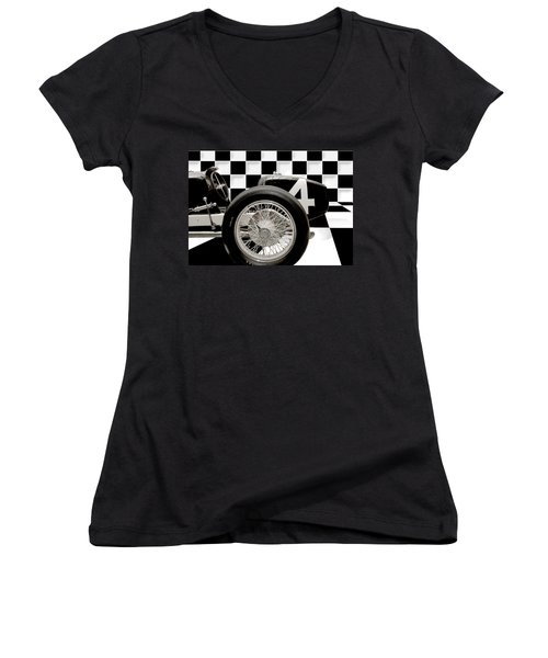 Indianapolis Motor Speedway Women's V-Neck T-Shirt (Junior Cut) by Gary Warnimont