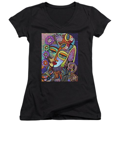 Indigo Tapastry Royal Cats Women's V-Neck T-Shirt