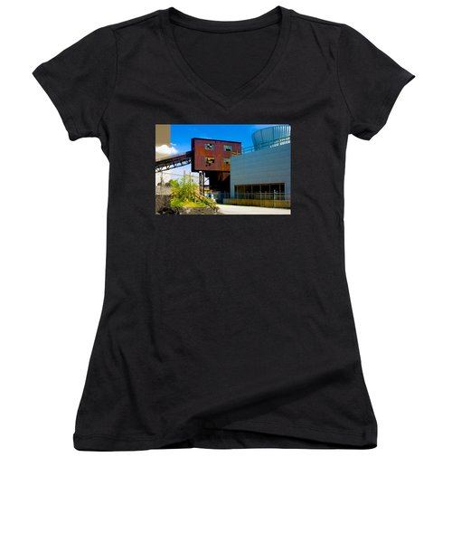 Industrial Power Plant Architectural Landscape Women's V-Neck