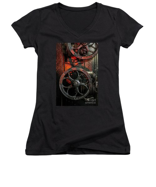 Industrial Wheels Women's V-Neck T-Shirt (Junior Cut) by Carlos Caetano