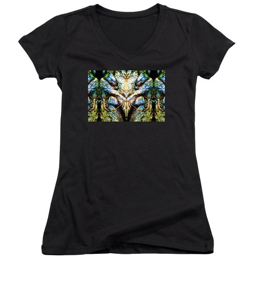 Women's V-Neck T-Shirt (Junior Cut) featuring the photograph Ingrained Wings by Marianne Dow
