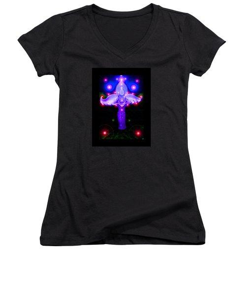 Inner Galactic Symphonics Women's V-Neck T-Shirt (Junior Cut) by Susanne Still