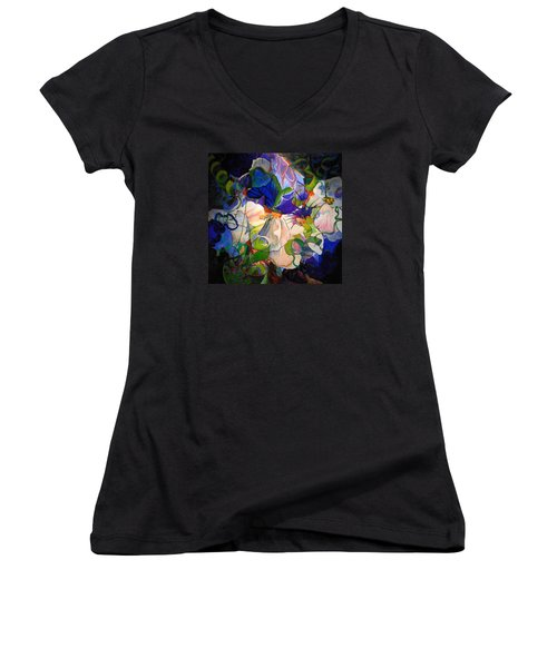 Women's V-Neck T-Shirt (Junior Cut) featuring the painting Inner Light by Georg Douglas