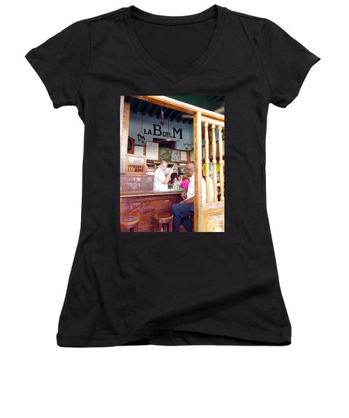 Inside La Bodeguita Del Medio Women's V-Neck T-Shirt (Junior Cut) by Valentino Visentini