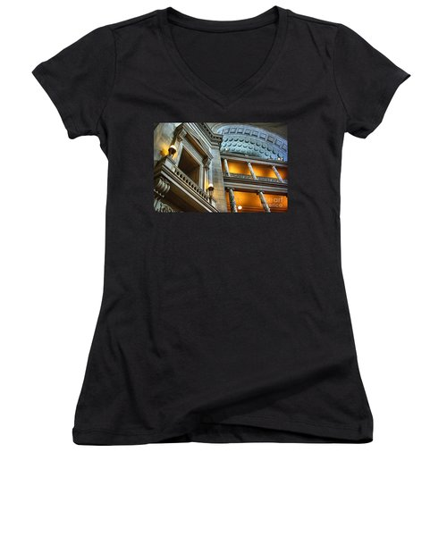 Inside The Natural History Museum  Women's V-Neck T-Shirt (Junior Cut) by John S