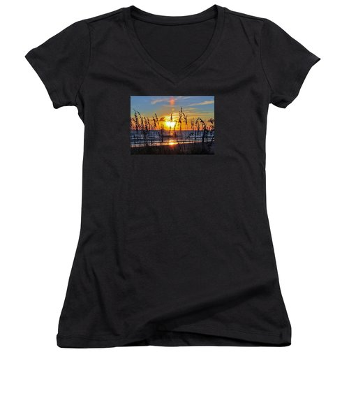 Inside The Sunset Women's V-Neck T-Shirt (Junior Cut) by Kicking Bear  Productions