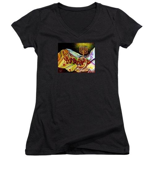 Intercession Women's V-Neck T-Shirt (Junior Cut) by Nancy Cupp