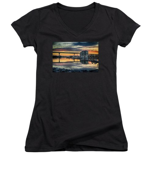 Intercoastal Waterway And The Wharf Women's V-Neck