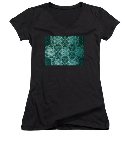 Women's V-Neck T-Shirt (Junior Cut) featuring the drawing Interference by Jason Padgett