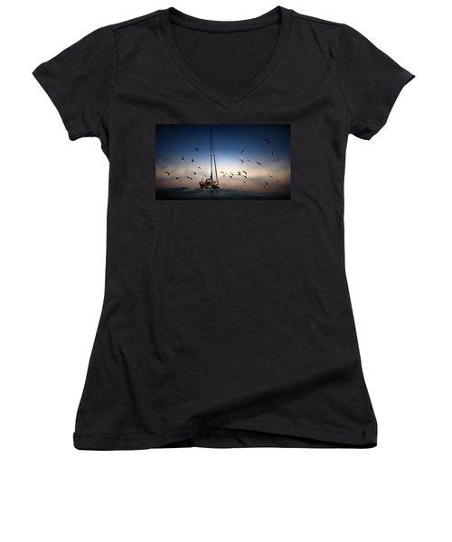 Into The Blue Women's V-Neck T-Shirt (Junior Cut) by Davandra Cribbie