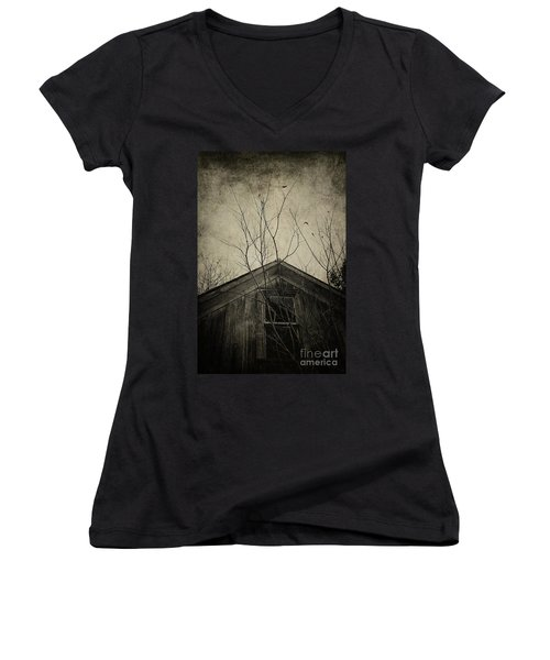 Into The Dark Past Women's V-Neck T-Shirt (Junior Cut) by Trish Mistric